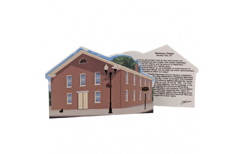 """Front & Back of Wesleyan Chapel, Women's Rights NHP, Seneca Falls, New York. Handcrafted in the USA 3/4"""" thick wood by Cat's Meow Village."""