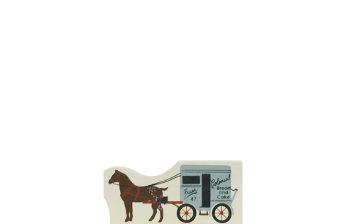 """Vintage Colonial Bread Wagon from Accessories handcrafted from 1/2"""" thick wood by The Cat's Meow Village in the USA"""