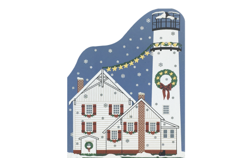 "Vintage Fenwick Island Light from Lighthouse Christmas Series handcrafted from 3/4"" thick wood by The Cat's Meow Village in the USA"