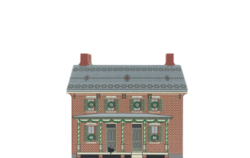 """Vintage Firestone Farmhouse from Greenfield Village Christmas Series handcrafted from 3/4"""" thick wood by The Cat's Meow Village in the USA"""