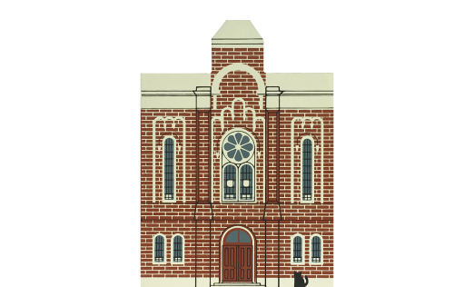 "Vintage First Baptist Church from Series VI handcrafted from 3/4"" thick wood by The Cat's Meow Village in the USA"