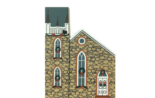 """Vintage First Presbyterian Church from Rocky Mountain Christmas Series handcrafted from 3/4"""" thick wood by The Cat's Meow Village in the USA"""