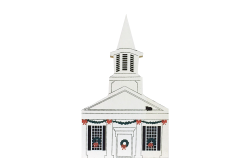 "Vintage Gates Mills Church from Ohio Western Reserve Christmas Series handcrafted from 3/4"" thick wood by The Cat's Meow Village in the USA"