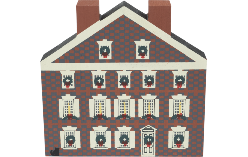 """Vintage Graff House from Philadelphia Christmas Series handcrafted from 3/4"""" thick wood by The Cat's Meow Village in the USA"""