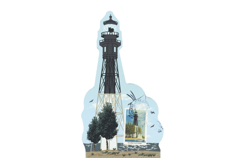 "Hillsboro Inlet Lighthouse w/ USPS Lighthouse Stamp from Southeastern Lighthouse Series handcrafted from 3/4"" thick wood by The Cat's Meow Village in the USA"