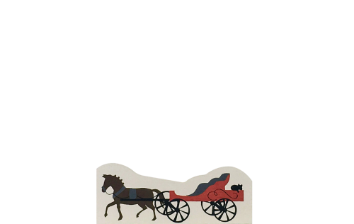 "Vintage Horse & Carriage from Accessories handcrafted from 1/2"" thick wood by The Cat's Meow Village in the USA"