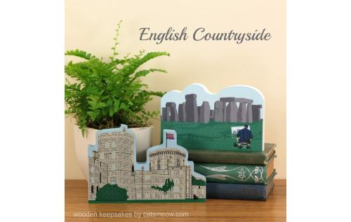 Wooden keepsakes by The Cat's Meow Village of Stonehenge and Windsor Castle