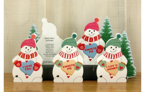 Examples of personalized Candy Heart Valentine's Snowmen-available in 2 color combinations