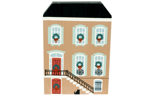 """Vintage J. J. Dale Row House from Savannah Christmas Series handcrafted from 3/4"""" thick wood by The Cat's Meow Village in the USA"""