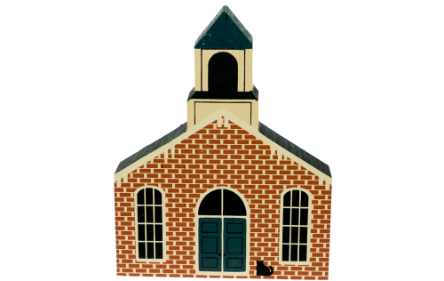 """Vintage Jackson Township Hall from Roscoe Village Series handcrafted from 3/4"""" thick wood by The Cat's Meow Village in the USA"""