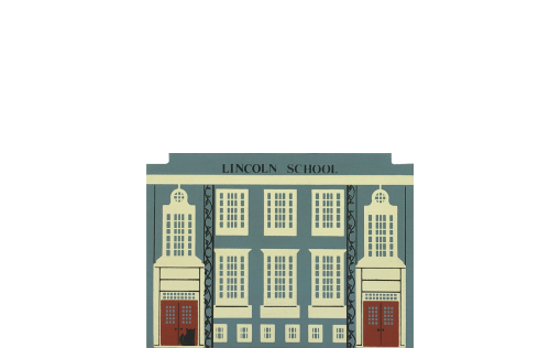 "Vintage Lincoln School from Series VI handcrafted from 3/4"" thick wood by The Cat's Meow Village in the USA"