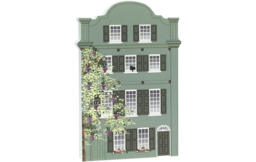 "Rainbow Row #8, Charleston, South Carolina, handcrafted in the USA of 3/4"" thick wood. Printed with colorful details that represent the beauty of Rainbow Row. By The Cat's Meow Village."