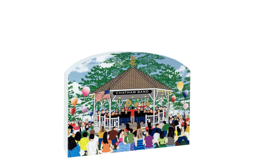 "Replica of the Chatham Band Stand during a Friday night concert. Handcrafted in 3/4"" thick wood by The Cat's Meow Village in the USA."
