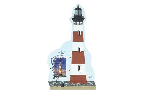 """Morris Island Lighthouse w/ USPS Lighthouse Stamp from Southeastern Lighthouse Series handcrafted from 3/4"""" thick wood by The Cat's Meow Village in the USA"""