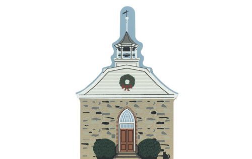 "Vintage Old Dutch Church in Hudson River Valley Christmas Series handcrafted from 3/4"" thick wood by The Cat's Meow Village in the USA"