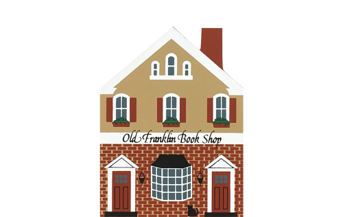 """Vintage Old Franklin Book Shop from Series VII handcrafted from 3/4"""" thick wood by The Cat's Meow Village in the USA"""