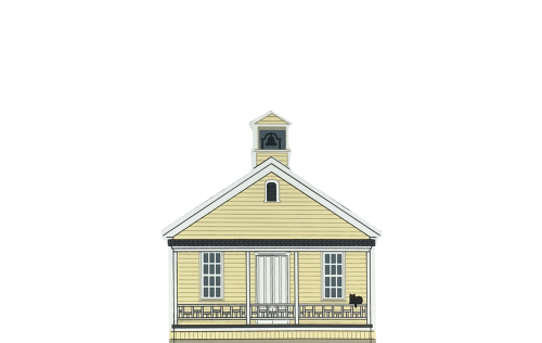 """Vintage Old Sacramento Schoolhouse from California Gold Rush Series handcrafted from 3/4"""" thick wood by The Cat's Meow Village in the USA"""