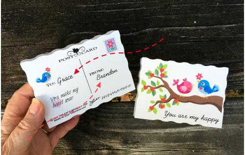 You can personalize the back of your valentine with names, making your gift pretty darn personal. Crafted by The Cat's Meow Village.