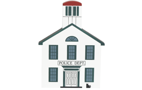 "Vintage Police Department from Series V handcrafted from 3/4"" thick wood by The Cat's Meow Village in the USA"