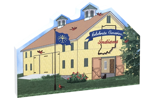 Show your state pride with this Indiana state barn. We've included all the state symbols within the design. Handcrafted by The Cat's Meow Village in the USA.