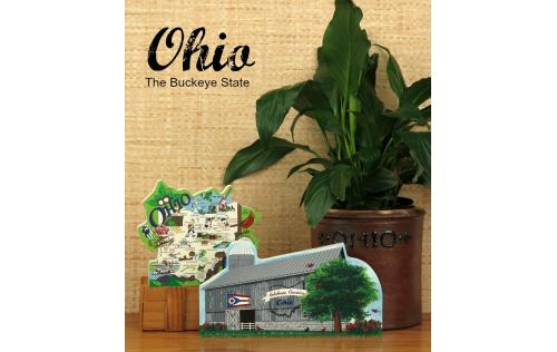 Show your state pride with a handcrafted in the US wooden keepsake of an Ohio State Map or State Barn.