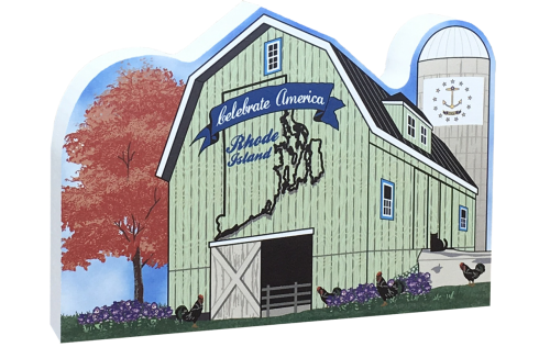 Show your state pride with this Rhode Island state barn. We've included all the state symbols within the design. Handcrafted by The Cat's Meow Village in the USA.