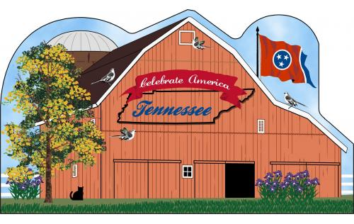Tennessee State Barn including the state flag along with other state facts. The Volunteer State.