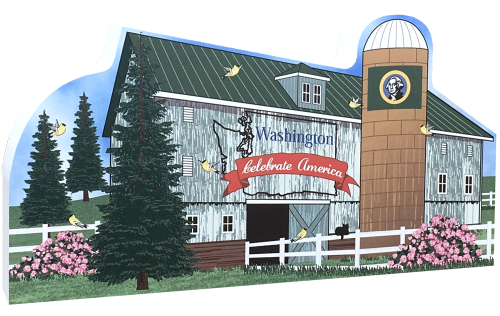 Show your state pride with this Washington state barn. We've included all the state symbols within the design. Handcrafted by The Cat's Meow Village in the USA.
