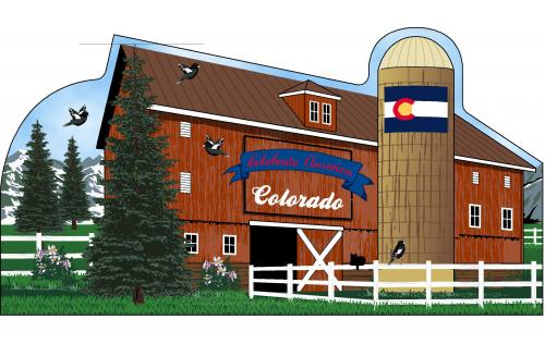 Colorado State Barn including the state flag and other state facts. The Centennial State.