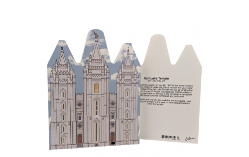 "Front & Back of Beautifully detailed replica of Salt Lake Temple, Salt Lake City, Utah. Handcrafted in the USA 3/4"" thick wood by Cat's Meow Village."