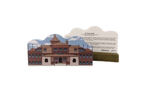 Front & Back of Wooden Cat's Meow keepsake of El Tovar Hotel, Grand Canyon National Park, Arizona. Handcrafted in our Wooster, Ohio workshop.