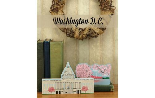 Cat's Meow handcrafted wooden keepsakes of the Capitol and Cherry Blossoms In Bloom representing Washington D.C.