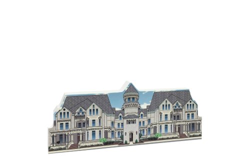 """Front replica of the Ohio State Reformatory used in The Shawshank Redemption movie. Handcrafted of 3/4"""" thick wood by The Cat's Meow Village in our Wooster, Ohio workshop."""