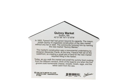 """Back of the Quincy Market replica in Boston, Massachusetts. Handcrafted of 3/4"""" thick wood with colorful details on the front and history on the back. Made by Cat's Meow Village in Wooster, Ohio."""