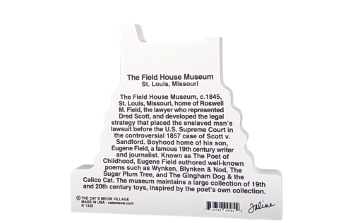 "Back description of the Field House Museum replica, St. Louis, MO.  Handcrafted in the USA 3/4"" thick wood by Cat's Meow Village."
