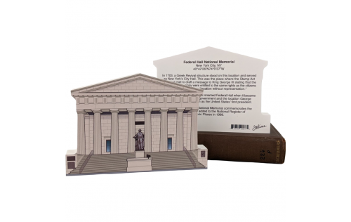 """Front & Back of Federal Hall National Memorial,Manhattan, New York. Handcrafted in the USA 3/4"""" thick wood by Cat's Meow Village."""