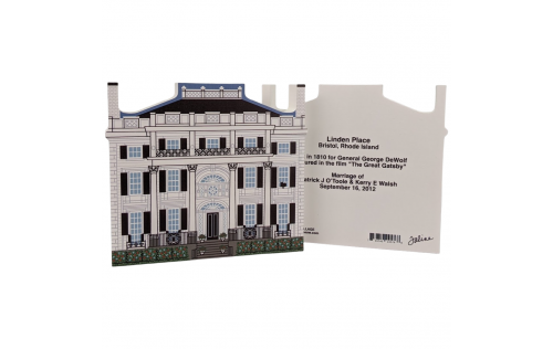"""Front & Back of Linden Place Historic Museum, Rhode Island. Handcrafted in the USA 3/4"""" thick wood by Cat's Meow Village."""