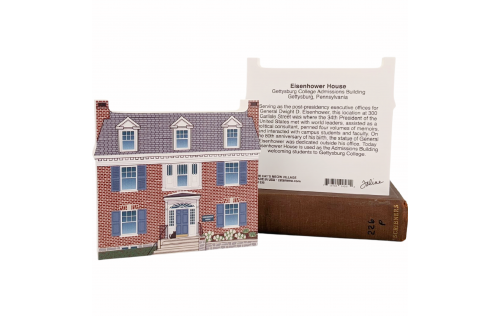 """Front & Back of Eisenhower House National Historic Site, Gettysburg, Pennsylvania. Handcrafted in the USA 3/4"""" thick wood by Cat's Meow Village."""