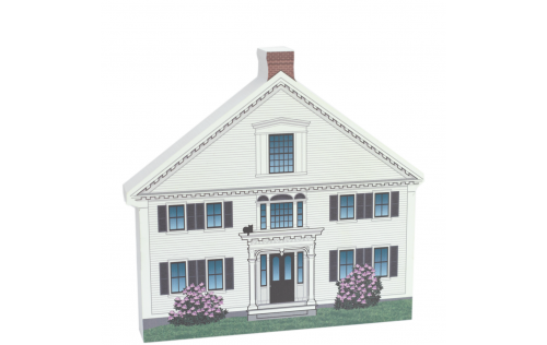 """Colorful and Detailed Front Replica of Captain Enoch Remick House, Tamworth Village, NH.  Handcrafted in 3/4"""" thick wood by The Cat's Meow Village in the USA."""