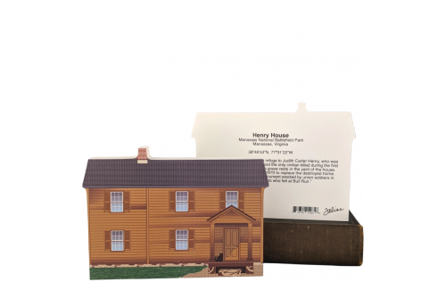 "Front & Back of Henry House, Manassas Nat'l Battlefield Park, VA. Handcrafted in the USA 3/4"" thick wood by Cat's Meow Village."
