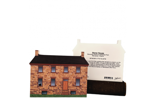 "Front & Back of Stone House, Manassas Nat'l Battlefield Park, VA. Handcrafted in the USA 3/4"" thick wood by Cat's Meow Village."