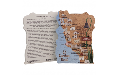 "Front & Back of Beautifully detailed map of the El Camino Real, Alta California. Handcrafted in the USA 3/4"" thick wood by Cat's Meow Village."