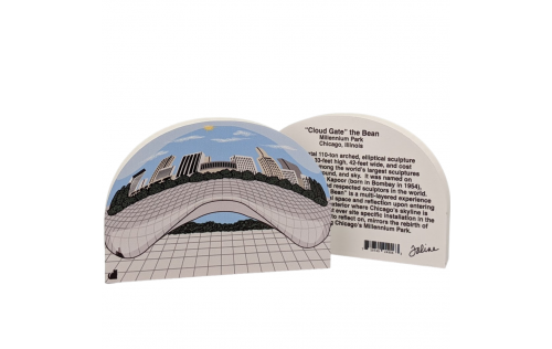 "Front & back of Cloud Gate, the Bean, Millennium Park, Chicago, Illinois. Handcrafted in the USA 3/4"" thick wood by Cat's Meow Village."
