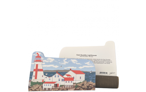 "Front & back Colorful and detailed replica of East Quoddy Lighthouse, New Brunswick, Canada. Handcrafted in the USA 3/4"" thick wood by Cat's Meow Village."