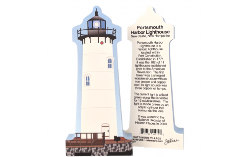"Front & Back of Colorful and detailed replica of Portsmouth Harbor Lighthouse, New Castle, New Hampshire. Handcrafted in the USA 3/4"" thick wood by Cat's Meow Village."