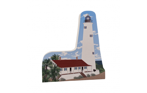 """Replica of St Marks lighthouse in Saint Marks, Florida. Handcrafted in 3/4"""" thick wood by The Cat's Meow Village in the USA."""