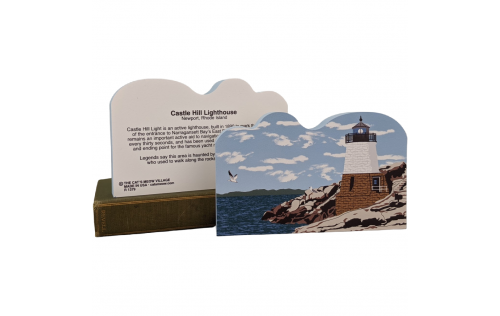 "Front & Back of this Colorful and detailed replica of Castle Hill Lighthouse, Newport, Rhode Island. Handcrafted in the USA 3/4"" thick wood by Cat's Meow Village."