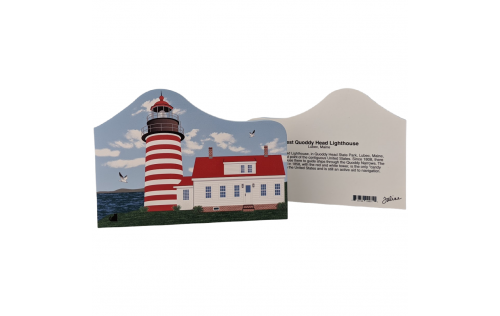 """Front & Back of this Colorful and detailed replica of West Quoddy Lighthouse, Lubec, Maine. Handcrafted in the USA 3/4"""" thick wood by Cat's Meow Village."""