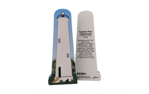 """Front & Back of Egmont Key Lighthouse, Florida State Park. Handcrafted in the USA 3/4"""" thick wood by Cat's Meow Village."""