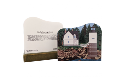 """Front & Back of Detailed replica of Isle Au Haut Lighthouse, Isle Au Haut, Maine. Handcrafted in the USA 3/4"""" thick wood by Cat's Meow Village."""